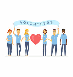 happy volunteers with a banner - cartoon people vector image