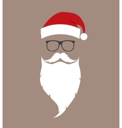 hat beard and glasses Santa vector image