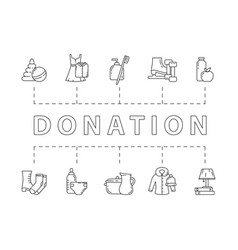 Horizontal donation poster charity banner with vector