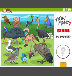 How many birds educational cartoon game vector