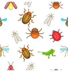 Insects pattern cartoon style vector