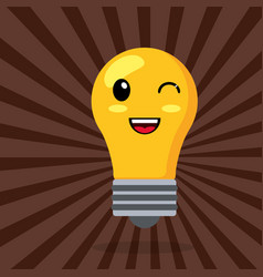 Kawaii bulb wink smile vector