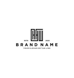Letter hhw square logo design vector