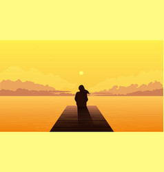 Lonely girl silhouette on sunset sad alone dreamy vector