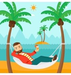 Man chilling in hammock vector