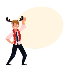 man in reindeer horns having fun at corporate vector image