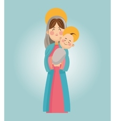 Mary and baby jesus cartoon design vector