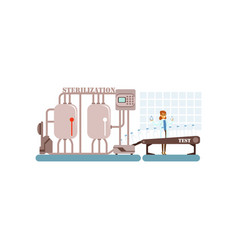 milk sterilization conveyor line with smiling vector image