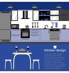 Modern kitchen interior flat design with home vector