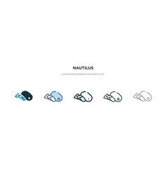 Nautilus icon in different style two colored and vector