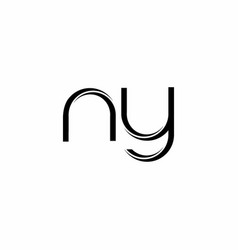 Ny logo monogram with slice rounded modern design vector