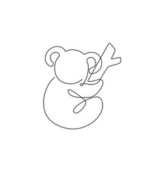 one continuous line drawing adorable koala on vector image