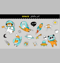 outer space sticker collection cute animals vector image