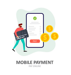 payment using a smartphone mobile payment online vector image