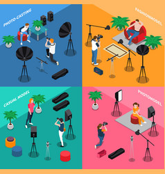 Photo model agency isometric concept vector