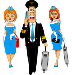 Pilot and flight attendants vector