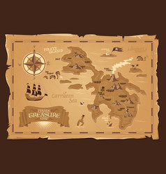 pirate map in vintage style vector image