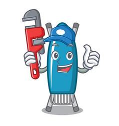 Plumber iron board mascot cartoon vector