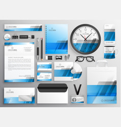 Professional blue business stationery items set vector