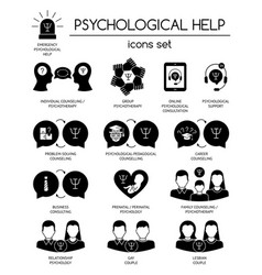Psychological help set black silhouette icons vector