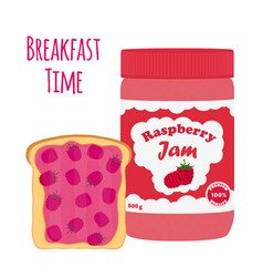 raspberry jam in glass jar toast with jelly vector image