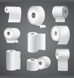 Realistic toilet paper roll mock up set isolated vector