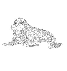 sea walrus an animal of the north pole coloring vector image