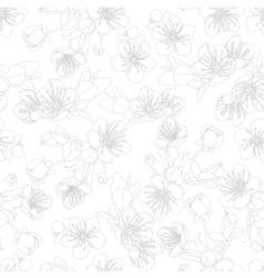 seamless pattern with flowers sakura vector image