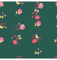 Seamless Vintage Wildflowers Pattern vector