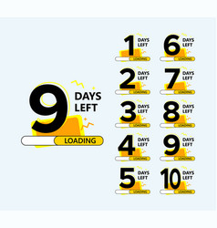 Set number days left countdown for promotional vector