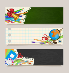 Set of back to school banners with student items vector