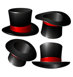 Set of black magician cylinder hats vector