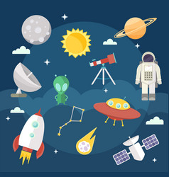 set of flat cartoon cosmic icons space vector image