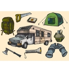 Set of hand drawn camping equipment symbols and vector image