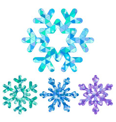 set of snowflakes with triangle mosaic patterns vector image