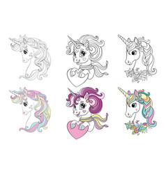 set three cartoon unicorns heads coloring vector image