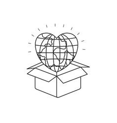Silhouette globe earth world in heart shape coming vector