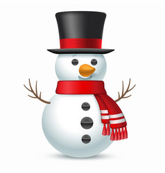 smiling snowman with top-hat and scarf vector image