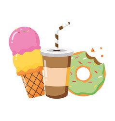 soda ice cream donut fast food vector image