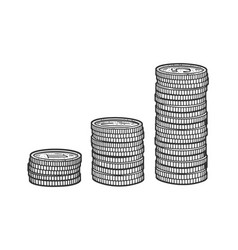stacks coins sketch vector image