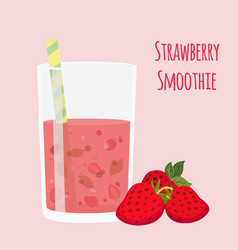 Strawberry smoothie vegetarian organic detox drink vector