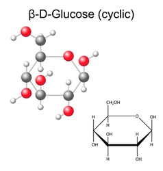 Structural chemical formula and model of glucose vector