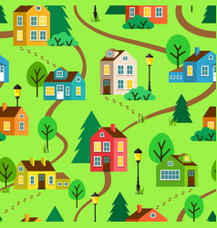 Summer town or village seamless pattern vector