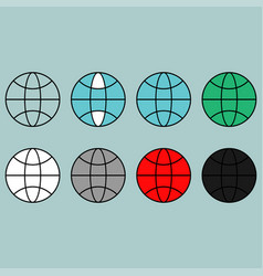 Terrestrial globe different colour flat icon vector