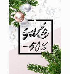 the christmas sale banner marble balls and pink vector image