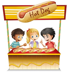 Three kids in a hotdog stand vector