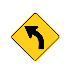Usa traffic road signs left curve ahead vector