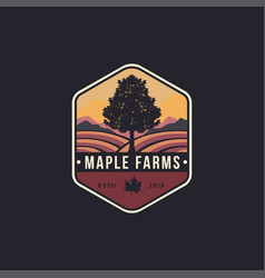 vintage hipster emblem maple tree and farms logo vector image