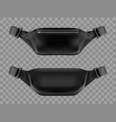 waist bag belt pouch black fanny pack mockup vector image