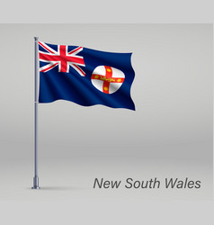 Waving flag new south wales - state of vector